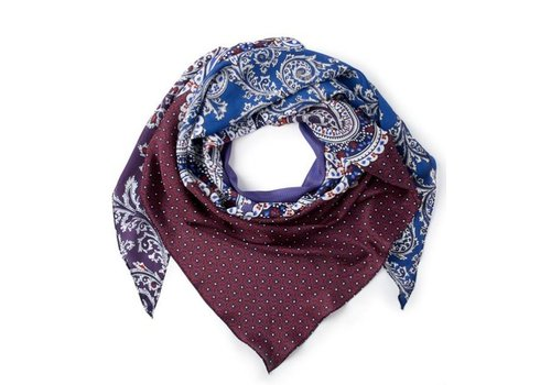 Royal Blue Patched Paisley Silk Triangle