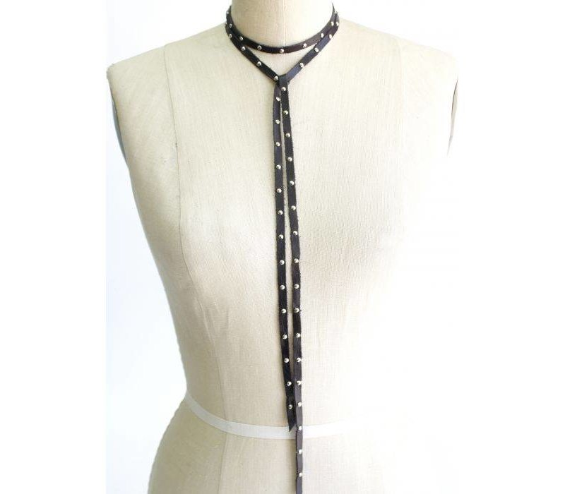 Leather Studded Necklace - Charcoal