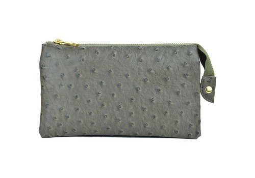 3-in-1 Ostrich Purse - Grey