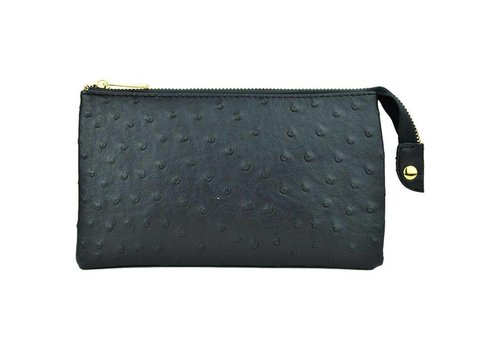 AH!dorned 3-in-1 Ostrich Purse - Black