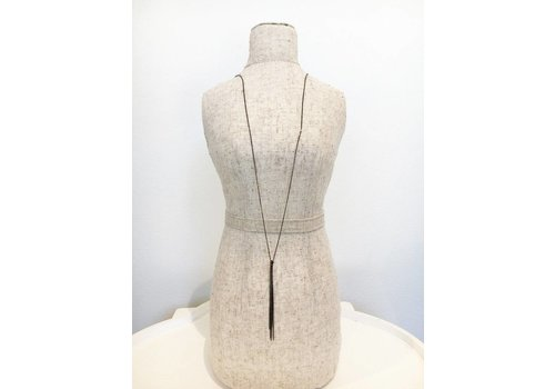 Cloverpost Dangle Tassel Necklace - Gunmetal