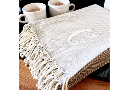 Herringbone Initial Throw Blanket (Other initials available)