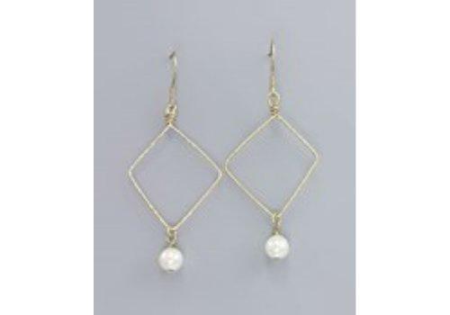 Golden Stella Gold Diamond Drop Pearl Earrings