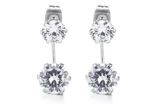 Silver CZ Double Stud Earring
