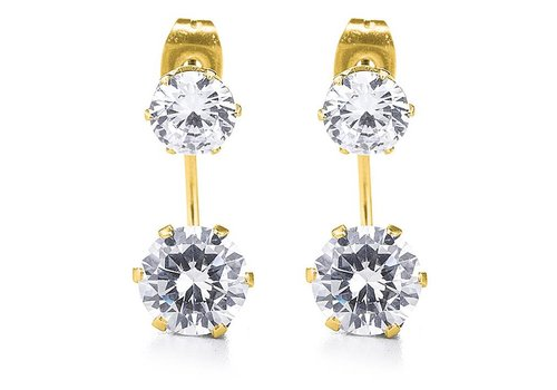 Gold CZ Double Stud Earring