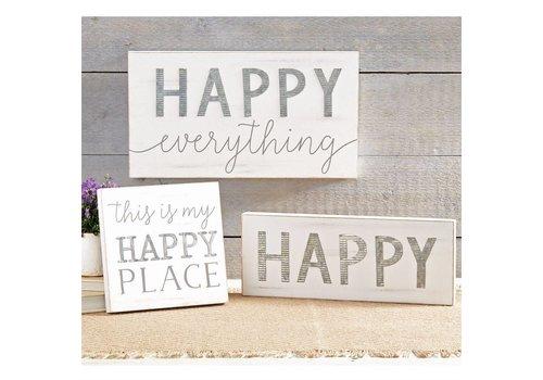 Wood & Tin Happy Plaque