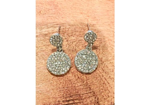 U.S. Jewelry House Silver Crystal Disc Earrings