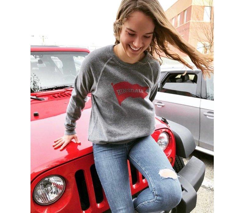"Charcoal ""Hinsdale"" Red Pennant Sweatshirt"