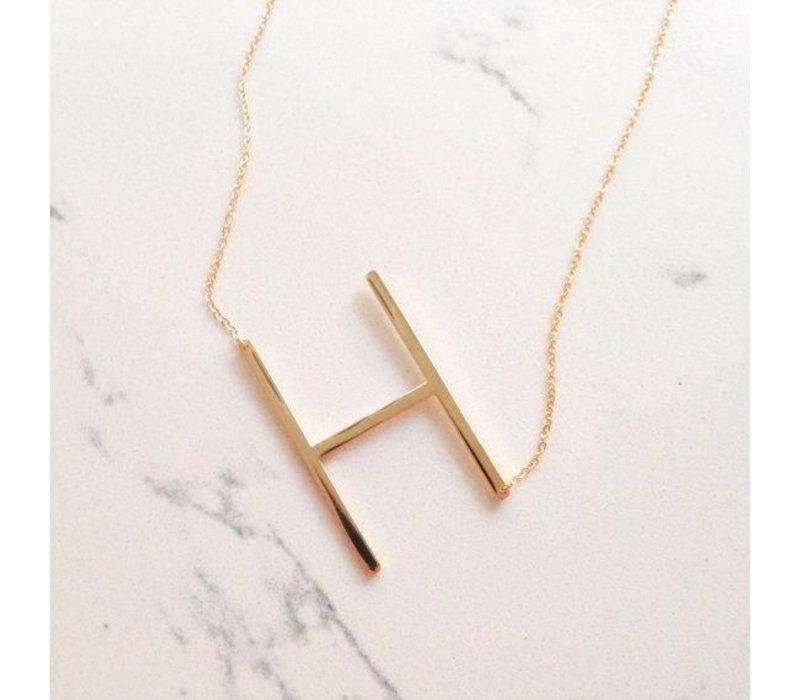 Gold Vermeil Sideways Initial 16'' Necklace