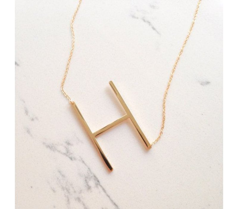 Gold Vermeil Sideways Initial 16'' Necklace