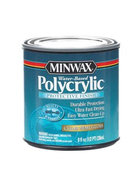 MINWAX POLYCRYLIC PROTECTIVE FINISH SEMI-GLOSS HALF PINT