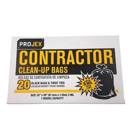 PRIMROSE PLASTIC 42 GAL BLACK CONTRACTOR CLEAN-UP BAG 20CT 3MIL
