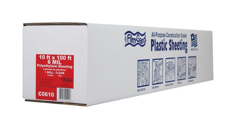 10' X 100' 6 MIL CLEAR PLASTIC POLYETHYLENE FILM
