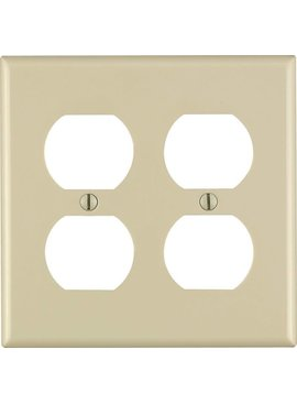LEVITON IVORY SMOOTH PLASTIC OUTLET PLATE 2 GANG BULK - 86016