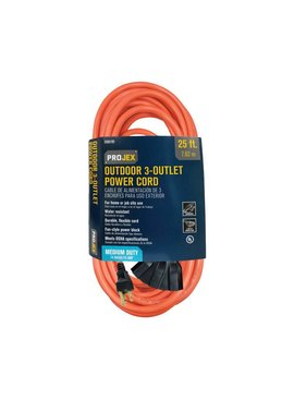 PROJEX IN/OUT 25 FT. L TRIPLE OUTLET CORD