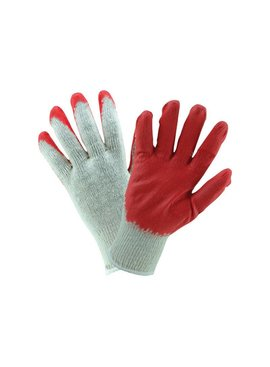 RED DIPPED LATEX PALM STRING KNIT GLOVES 12/PK - LARGE