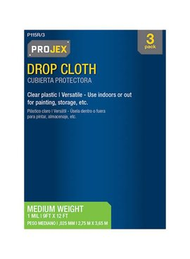 PROJEX 9'X12' 1 MIL CLEAR MEDIUM WEIGHT POLY ROLL DROP CLOTH 3/PK