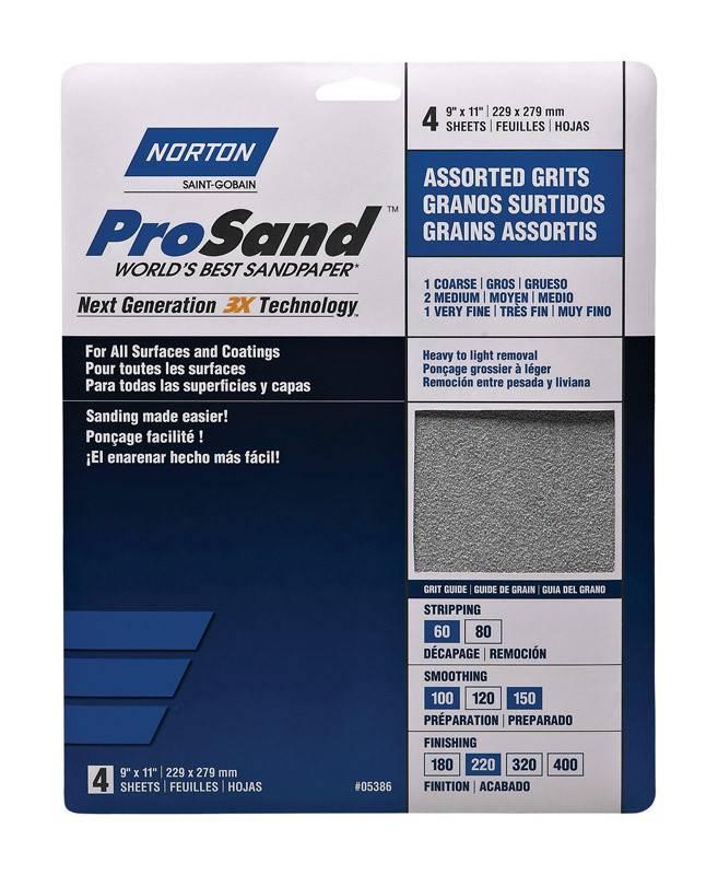 NORTON ABRASIVES Norton 3 pk 9X11 Pro sand Handypacks Asst