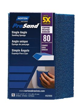 NORTON ABRASIVES Norton 4x3x1 Pro sand single angle sponge 80