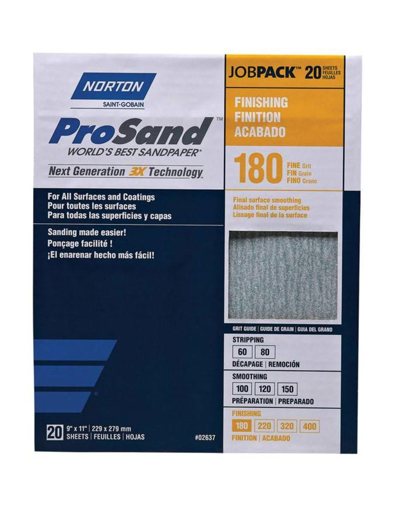 Norton Abrasives 9x11 Prosand Sandsheet 180 Grit Sandpaper 20