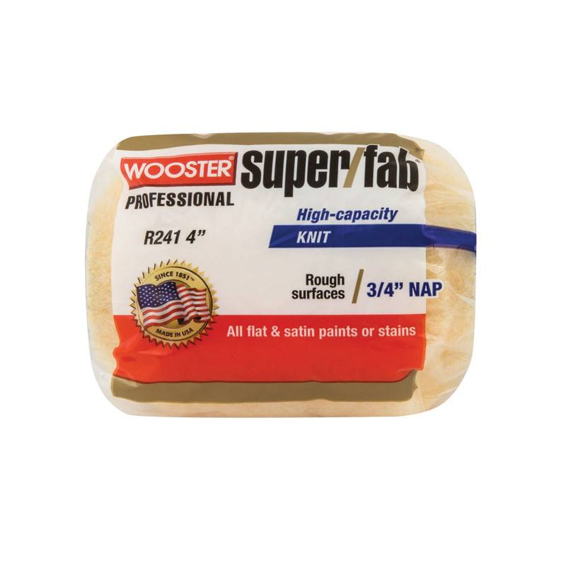 WOOSTER BRUSH COMPANY 4'' SUPER/FAB ROLLER COVER 3/4'' NAP - FLAT PAINTS, STAINS