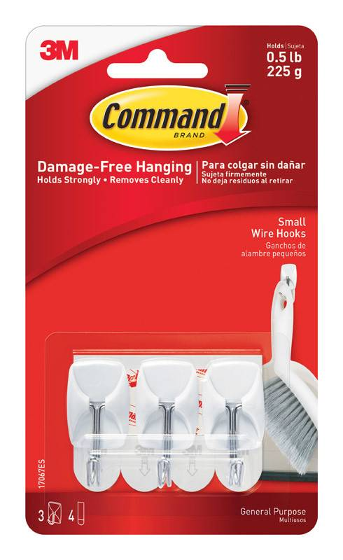 3M Command Small Wire Hooks Three Pack