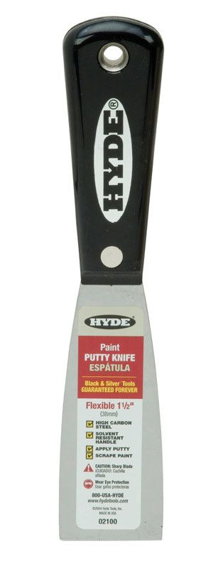 HYDE TOOLS HYDE 02100 1-1/2'' BLACK & SILVER FLEX PUTTY KNFE - EACH