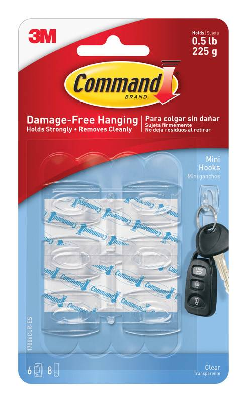 3M Command Clear Mini Hooks Six Pack