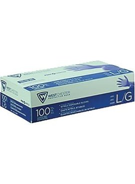 ECONOMY DISPOSABLE BLUE NITRILE GLOVES POWDER FREE 100/PK BOX - MEDIUM