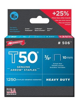 "T50 3/8"" 10MM STAPLES 1250/PKG"