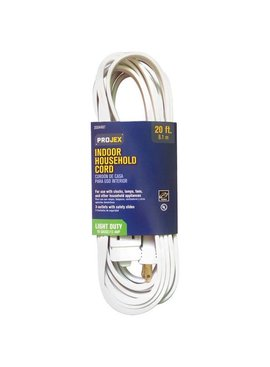 PROJEX 16/2SPT 20' GENERAL PURPOSE INDOOR EXT CORD -WHITE