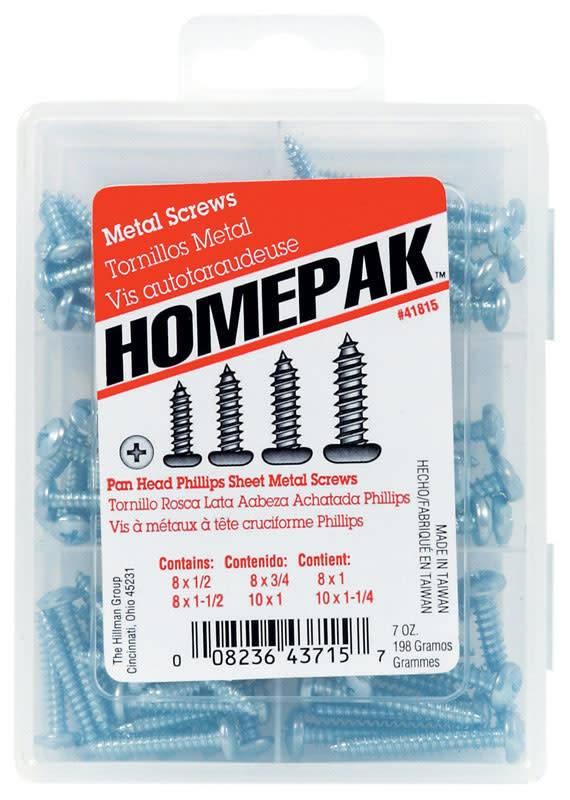 6-CAVITY HOMEPACK PAN PHILLIPS SHEET METAL SCREW ASST.