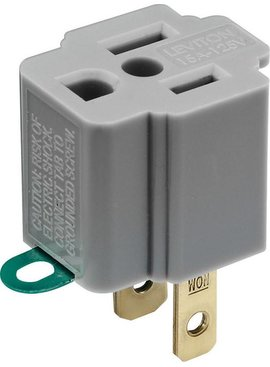 LEVITON LEVITON GROUNDING ADAPTER GRAY