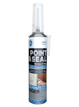 GENERAL ELECTRIC G.E. POINT & SEAL WHITE 100% SILICONE WINDOW & DOOR 7.25OZ