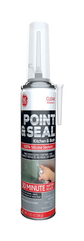 GENERAL ELECTRIC POINT & SEAL CLEAR 100% SILICONE KITCHEN & BATH  7.25OZ