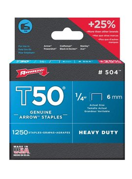 "T50 1/4"" 6MM STAPLES 1250/PKG"