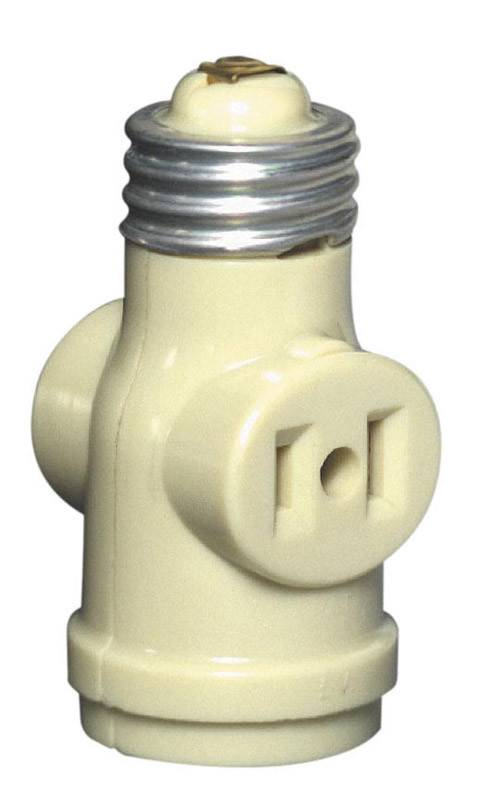 LEVITON IVORY TWO-OUTLET SOCKETADAPTER BAKELITE SLIMPK
