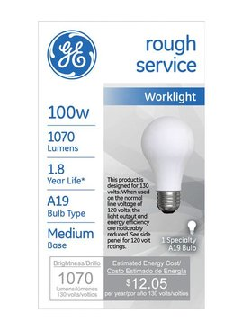 GENERAL ELECTRIC 100W A19 ROUGH SERVICE MEDIUM BASE
