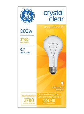 GENERAL ELECTRIC 200W 200A/CL-1 A21 CRYSTAL CLEAR MED BASE