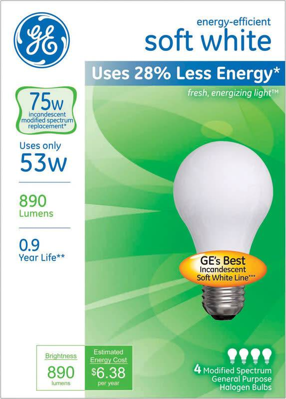GENERAL ELECTRIC GE ENERGY EFFICIENT SOFT WHITE 53W 4/PK