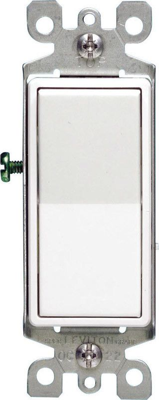 LEVITON LEVITON DECORA GROUNDING SWITCH WHITE