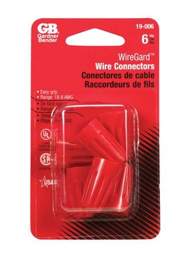 RED WIRE CONNECTORS 6/CRD