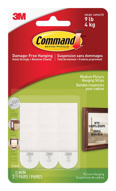 3M Command Medium Picture Hanging Stips Three Pairs