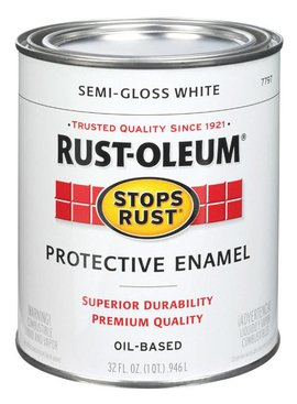 RUST-OLEUM CORPORATION SEMI-GLOSS WHITE PROTECTIVE ENAMEL QUART