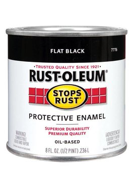 RUST-OLEUM CORPORATION FLAT BLACK PROTECTIVE ENAMEL HALF PINT