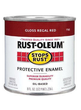 RUST-OLEUM CORPORATION GLOSS REGAL RED PROTECTIVE ENAMEL HALF PINT