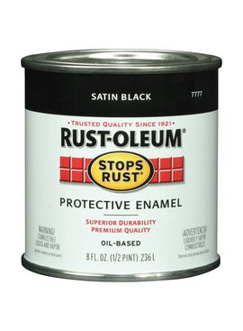 RUST-OLEUM CORPORATION SATIN BLACK PROTECTIVE ENAMEL HALF PINT
