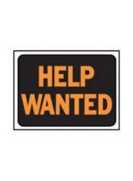 """HELP WANTED"" PLASTIC SIGN"