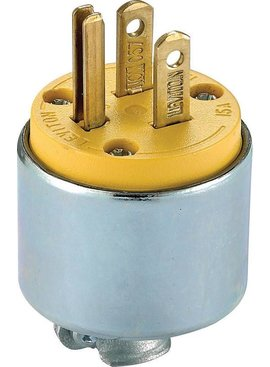 LEVITON 2 POLE ARMORED GROUNDING PLUG W/ CORD CLAMP BULK - 515PA