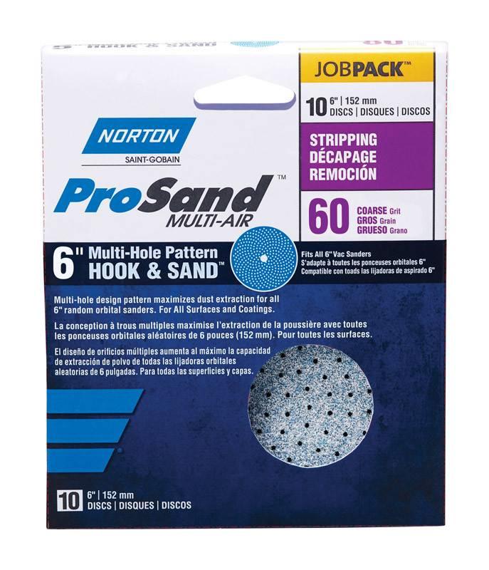 "NORTON ABRASIVES 6"" PROSAND CYCLONIC HOOK & SAND SANDING DISC 60 GRIT 10/PK"